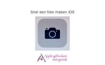 Snel een foto maken iOS