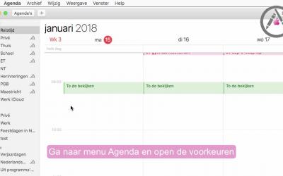 Stel je standaard agenda in mac