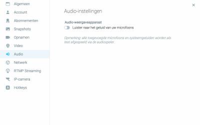 Audio instellingen ManyCam